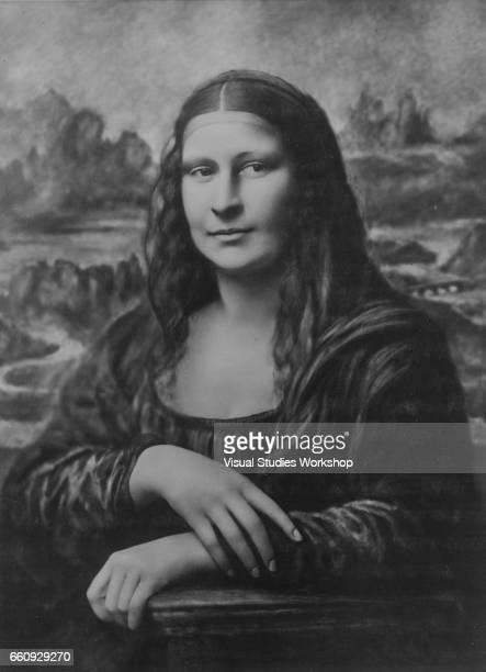 Portrait of American model Theresa Bonney as she poses as Leonardo da Vinci's Mona Lisa Paris France 1920s or 1930s