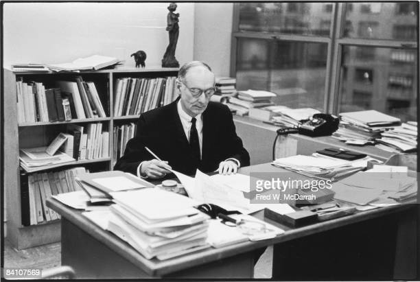 Portrait of American museum director and art historian Alfred H Barr Jr as he sits at his desk New York New York February 21 1961 Barr was the first...