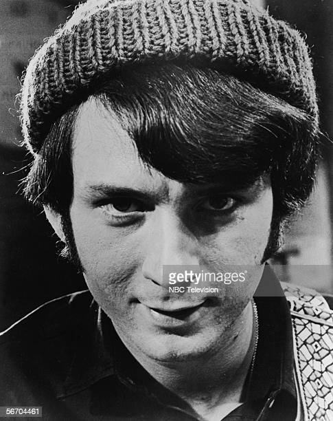 Portrait of American musician and actor Michael Nesmith in a knit cap of the popular music and television group the Monkees 1967