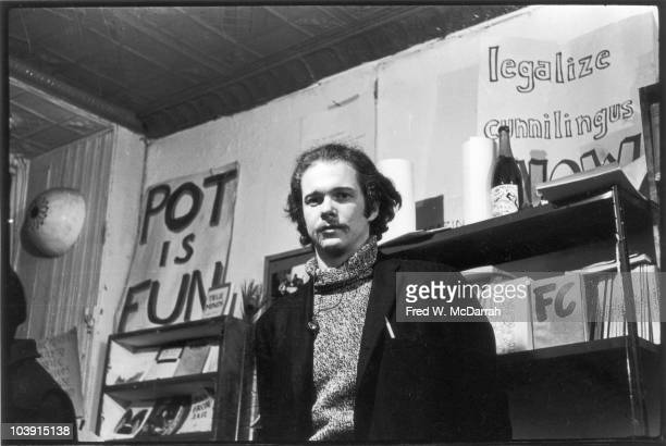 Portrait of American musician author and activist Ed Sanders inside his Peace Eye bookstore and cultural center New York New York January 14 1966 The...