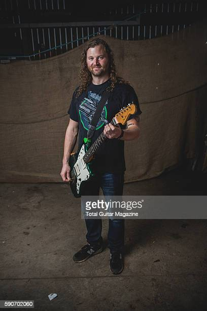 Portrait of American musician Ben Verellen guitarist with heavy metal group Helms Alee photographed backstage at ArcTanGent Festival in Somerset on...