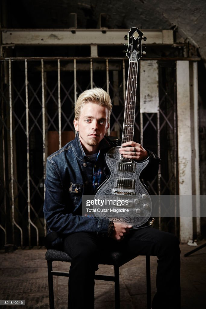 Portrait of American musician Ben Wells, guitarist with hard rock group Black Stone Cherry, photographed before a live performance at the Colston Hall in Bristol on January 11, 2016.