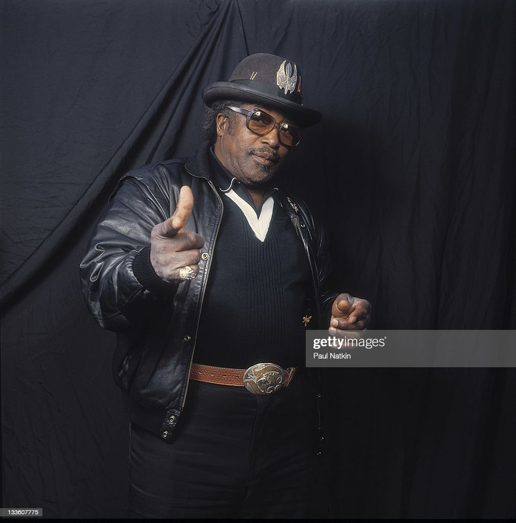 Portrait of American musician Bo Diddley (1928 - 2008) backstage at the Riviera Theater before a performance, Chicago, Illinois, November 5, 1987.