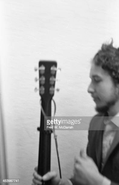 Portrait of American musician Bob Dylan backstage at the 'A Tribute to Woody Guthrie' concert at Carnegie Hall New York New York January 20 1968