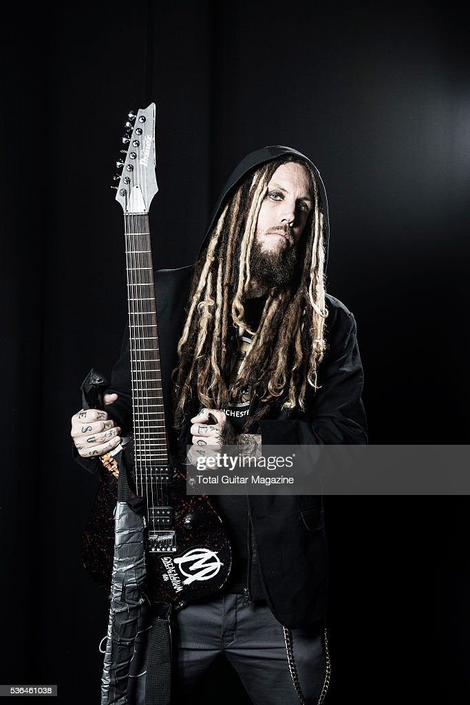 Portrait of American musician Brian Welch, better known by his stage name Head, photographed before a live performance with nu-metal group Korn at the O2 Academy Brixton in London, on July 16, 2015.