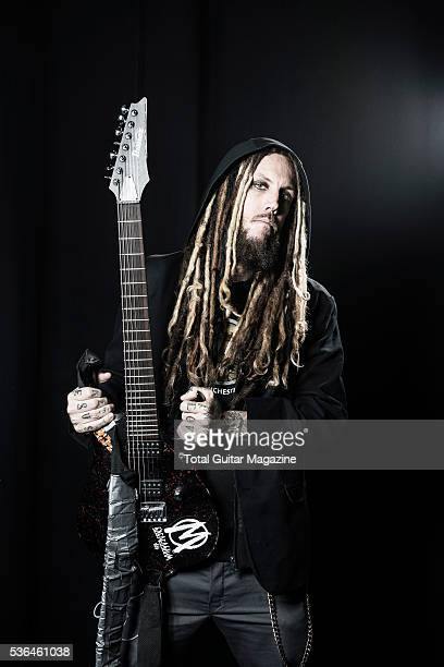 Portrait of American musician Brian Welch better known by his stage name Head photographed before a live performance with numetal group Korn at the...