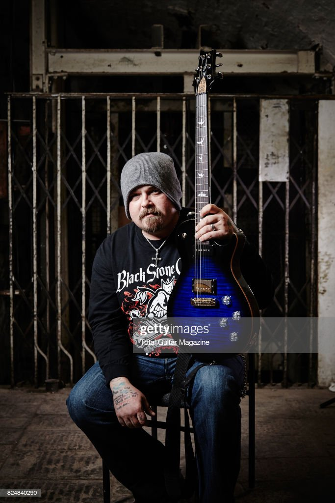 Portrait of American musician Chris Robertson, guitarist and vocalist with hard rock group Black Stone Cherry, photographed before a live performance at the Colston Hall in Bristol on January 11, 2016.