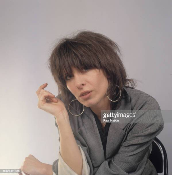 Portrait of American musician Chrissie Hynde, of the group Pretenders, as she poses at the UIC Pavillion, Chicago, Illinois, May 24, 1982.