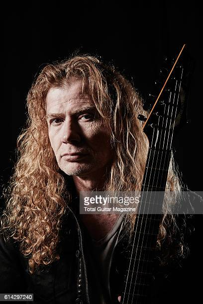 Portrait of American musician Dave Mustaine guitarist and vocalist with thrash metal group Megadeth photographed backstage before a live performance...