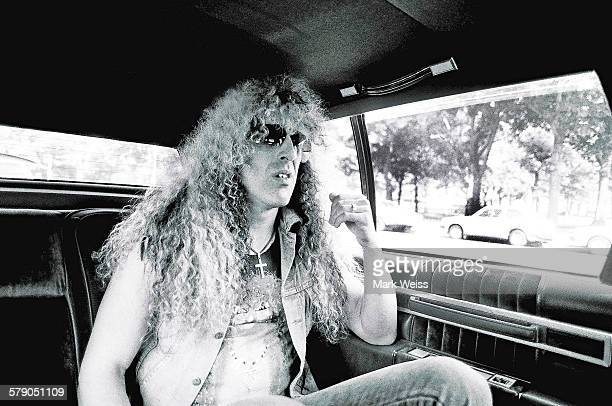 Portrait of American musician Dee Snider of Twisted Sister in a car on his way to the PMRC senate hearing Capitol Hill Washington DC United States...