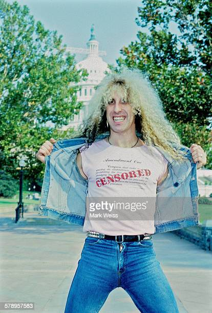 Portrait of American musician Dee Snider of Twisted Sister wearing a tshirt with a 'Censored' slogan during the PMRC senate hearing Capitol Hill...