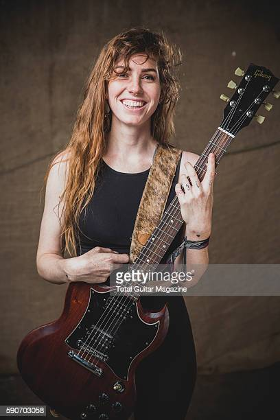 Portrait of American musician Emma Ruth Rundle guitarist and vocalist with alternative rock group Marriages photographed backstage at ArcTanGent...
