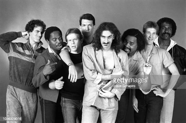 Portrait of American musician Frank Zappa and members of his band Los Angeles California 1984 Pictured are from left unidentified Ray White Bobby...