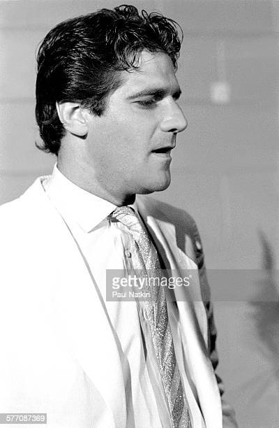 Portrait of American musician Glenn Frey backstage at the Petrillo Band Shell during the Chicago BluesFest, Chicago, Illinois, July 4, 1985.