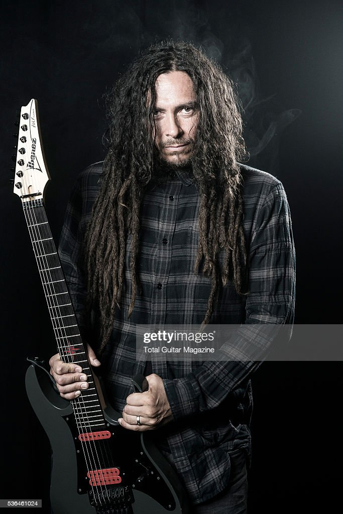 Portrait of American musician James Shaffer, better known by his stage name Munky, photographed before a live performance with nu-metal group Korn at the O2 Academy Brixton in London, on July 16, 2015.