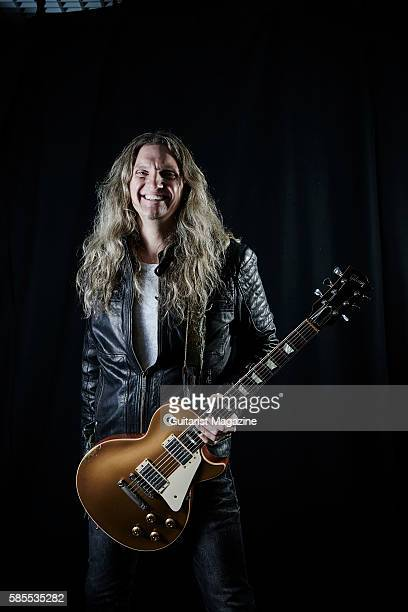 Portrait of American musician Joel Hoekstra guitarist with hard rock group Whitesnake photographed backstage before a live performance at the...
