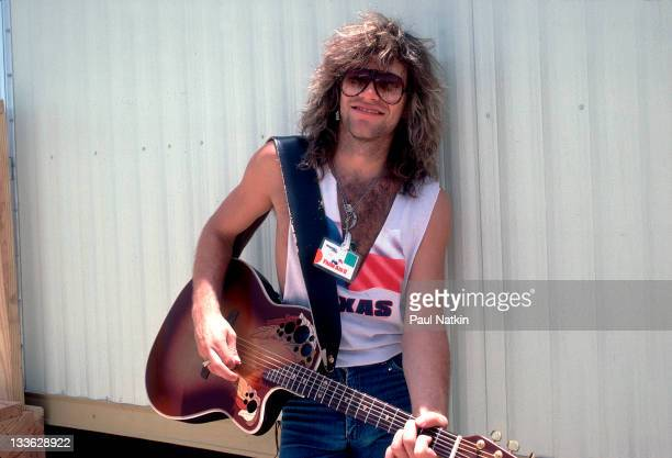 Portrait of American musician Jon Bon Jovi backstage at the Manor Downs Racetrack for the Farm Aid II Concert Austin Texas July 4 1986