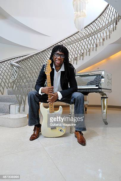 Portrait of American musician Nile Rodgers photographed with his 1959 Hitmaker Stratocaster electric guitar taken on July 5 2009 Rodgers is best...