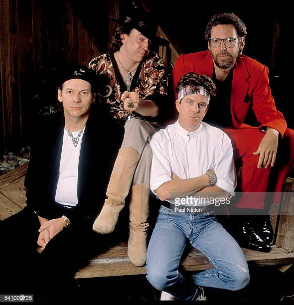 Portrait of American musician Stevie Ray Vaughan and his band as they pose backstage at the Alpine Valley Music Theater East Troy Wisconsin June 21...