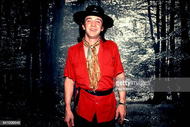 Portrait of American musician Stevie Ray Vaughan backstage at the Metro, Chicago, Illinois, July 3, 1983.