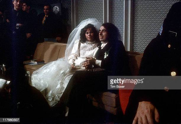 Portrait of American musician Tiny Tim and his wife Miss Vicki May Budinger at their wedding reception New York December 1969