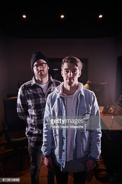 Portrait of American musicians Alex Pall and Andrew Taggart of dance music duo The Chainsmokers photographed at Tileyard Studios in London on March 2...