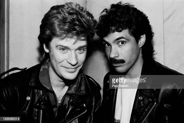Portrait of American musicians Darryl Hall and John Oates at the Whitehall Hotel Chicago Illinois November 5 1981