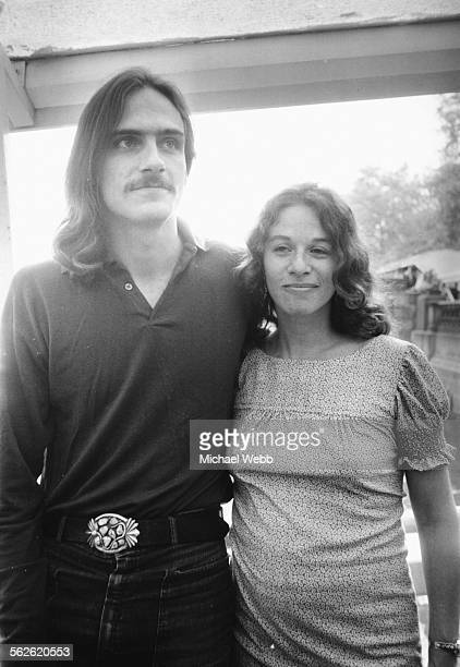 Portrait of American musicians James Taylor and Carole King in London to perform at Festival Hall England July 9th 1971