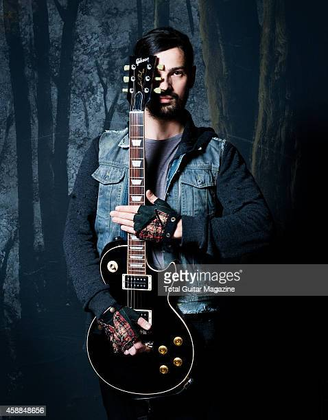 Portrait of American musicianTomo Milicevic guitarist with rock group 30 Seconds To Mars photographed backstage at Nottingham Arena on February 18...