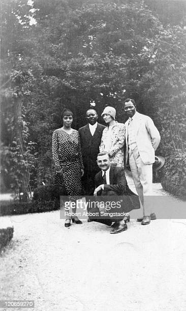 Portrait of American newspaper publisher Robert Sengstacke Abbott and his wife Helen Thornton Morrison , and Dahomian 'Prince' Kojo Tovalou Houenou...