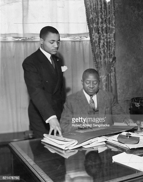 Portrait of American newspaper publishers John H Sengstacke and his uncle, Robert Sengstacke Abbott , the latter founder of the Chicago Defender...