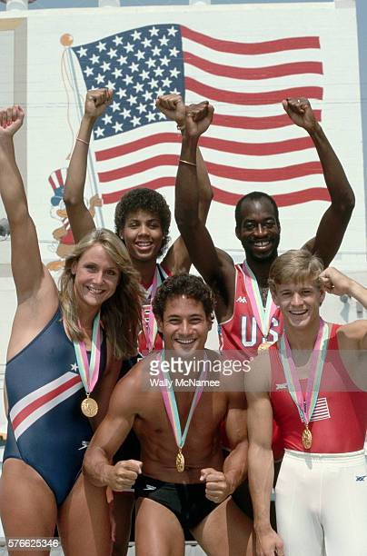 Portrait of American Olympic gold medalists at the 1984 Summer Olympics including swimmer Nancy Hogshead basketball player Cheryl Miller hurdler...