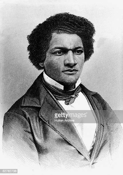 Portrait of American orator editor author abolitionist and former slave Frederick Douglass 1850s Engraving by A H Ritchie