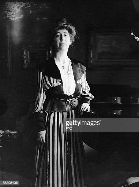 Portrait of American pacifist leader Jeannette Rankin who in 1916 became the first female member of Congress when she was elected to the House of...