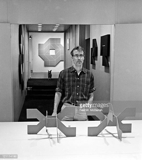 Portrait of American painter and sculptor Will Insley as he poses behind several of his smallscale models for environmental sculptures during the...
