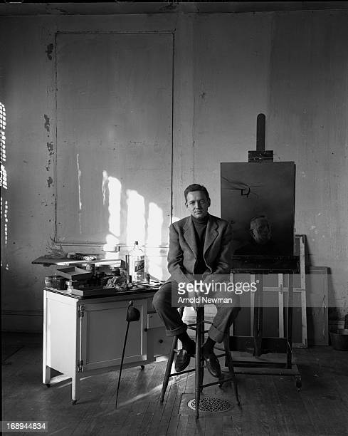 Portrait of American painter Andrew Wyeth as he stits on a stool in a studio Chadds Ford Pennsylvania April 16 1948