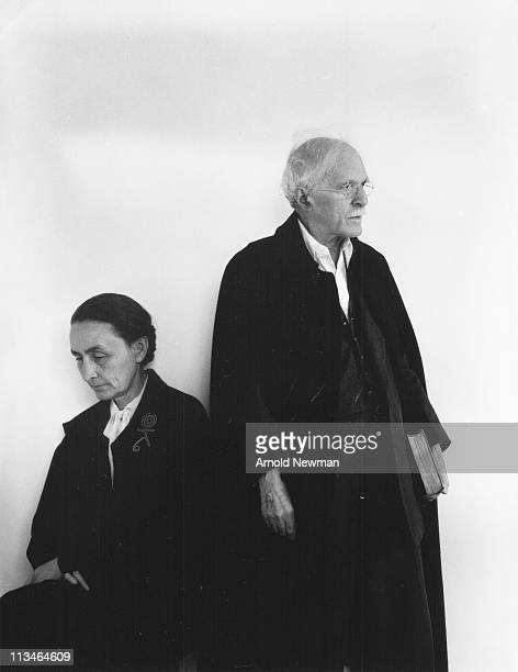 Portrait of American painter Georgia O'Keeffe and her husband photographer Alfred Stieglitz New York New York April 17 1944