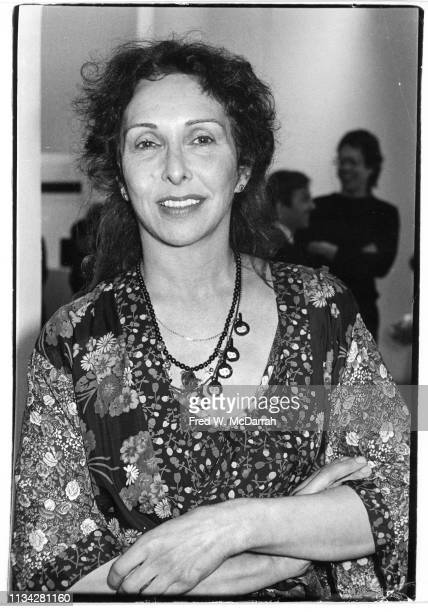 Portrait of American performance and visual artist Carolee Schneemann as she attends a Robert Rauschenberg opening at the Museum of Modern Art New...