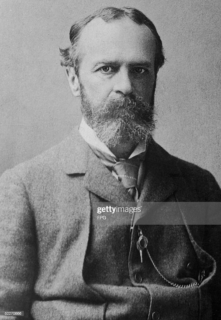 Portrait of American philosopher, psychologist, and educator William James (1842 - 1910), late 19th Century. James applied his philosophy, which he called Pragmatism, to subjects like epistemology, religion, and history. The brother of the novelist Henry James he taught at Harvard University for many years.