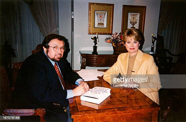 Portrait of American photographer and author Lawrence Schiller and journalist and news anchor Jane Pauley during an interview New York New York 2000...