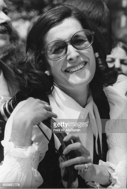Portrait of American photographer Jill Krementz as she attends the Women's Strike for Equality March New York New York August 26 1970 The march was...