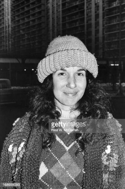 Portrait of American photographer Mary Ellen Mark as she poses outdoors on LaGuardia Place New York New York February 1 1978