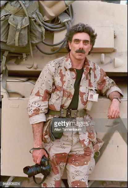 Portrait of American photojournalist Allan Tannenbaum after the liberation of Kuwait during the Gulf War Safwan Iraq 1991