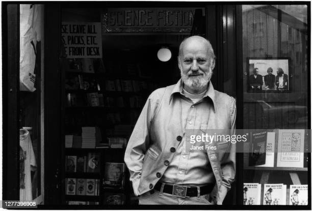 Portrait of American poet and activist Lawrence Ferlinghetti as he poses outside the bookstore he co-founded, City Lights Booksellers, in the North...