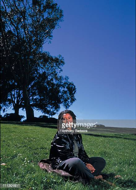 Portrait of the poet and Pulitzer prize winning author Alice Walker in a meditative pose on the grounds near her home in San Francisco 1989
