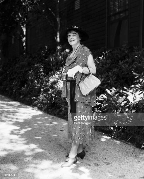 Portrait of American poet and author Helen Hay Whitney wife of William Payne Whitney outside the Belmont Racetrack Elmont Long Island New York 1934