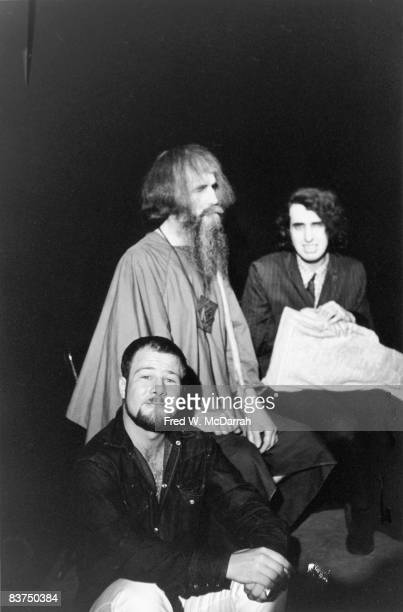 Portrait of American poet and social activist Hugh Romney , musician and inventor Moondog , and Tiny Tim , as they pose together at the Fat Black...