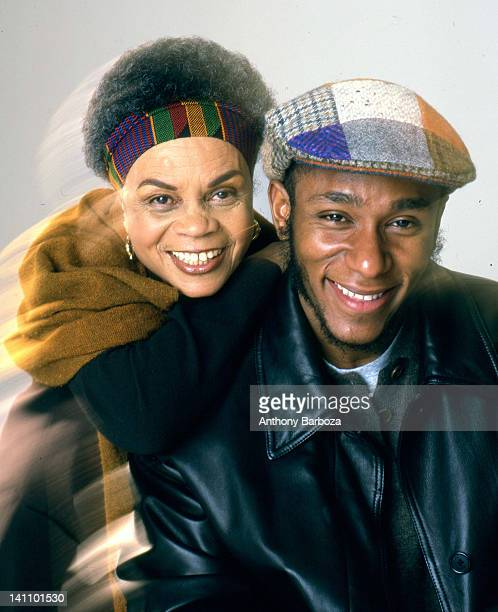 Portrait of american poet Sonia Shanchez and rapper and actor Mos Def as they pose against a white background New York New York 2000