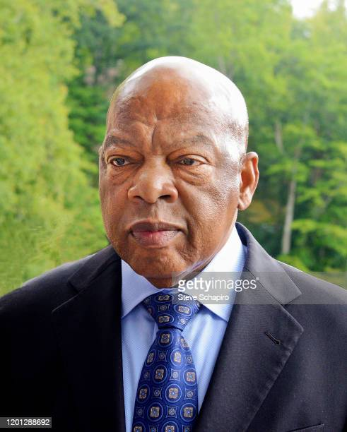 Portrait of American politician and Civil Rights activist US Representative John Lewis as he poses outside the Montreat Conference Center during the...