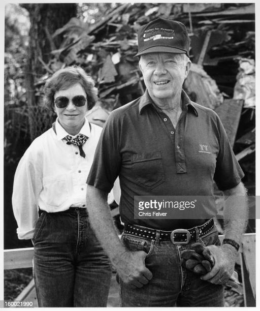 Portrait of American politician and former US President Jimmy Carter and his wife former First Lady Rosalynn Carter Americus Georgia 1994